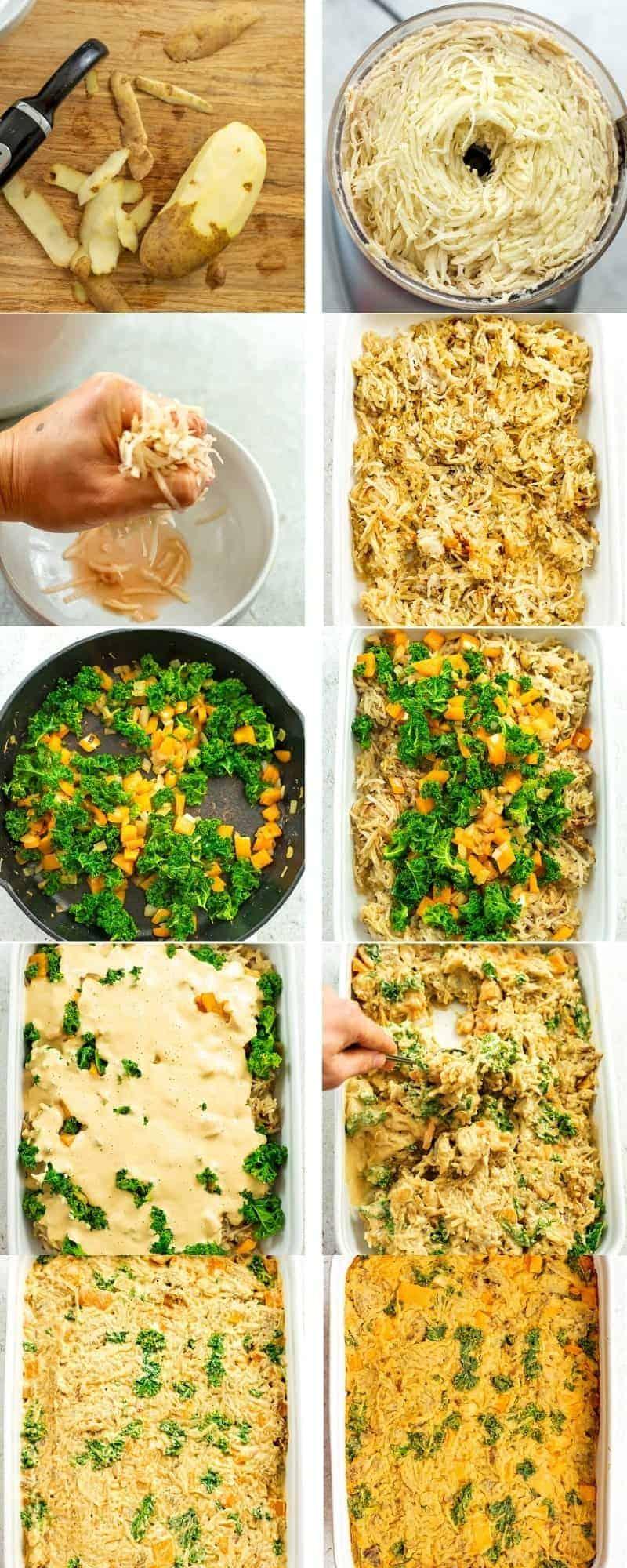 Steps to make vegan hash brown casserole.