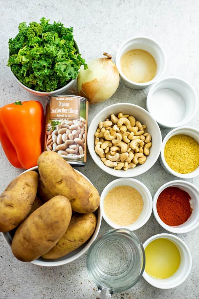 Ingredients to make hash brown casserole (vegan).