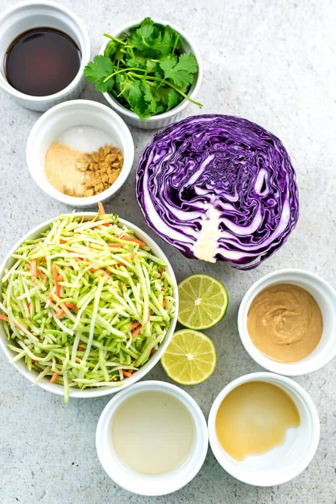 Ingredients for asian broccoli slaw.