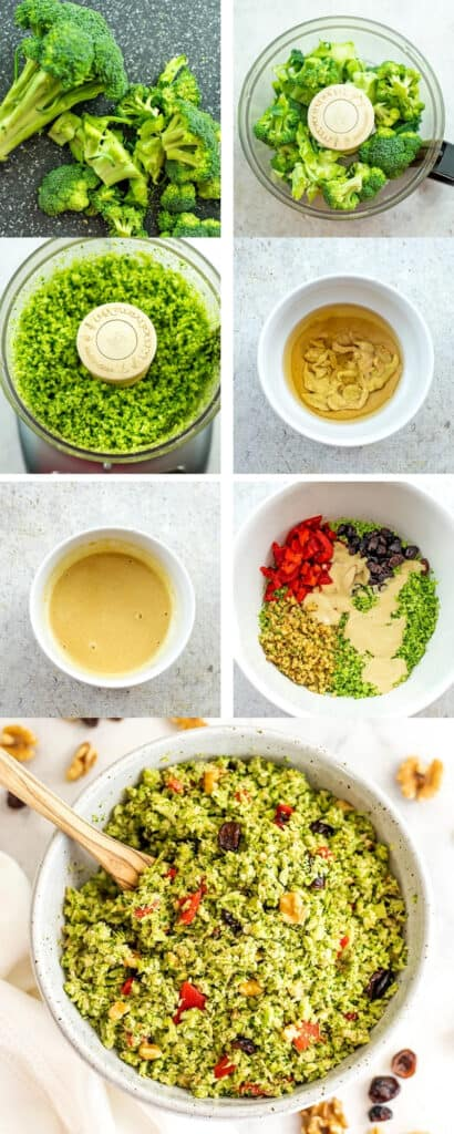 Steps on how to make riced broccoli salad with cranberry and walnuts.