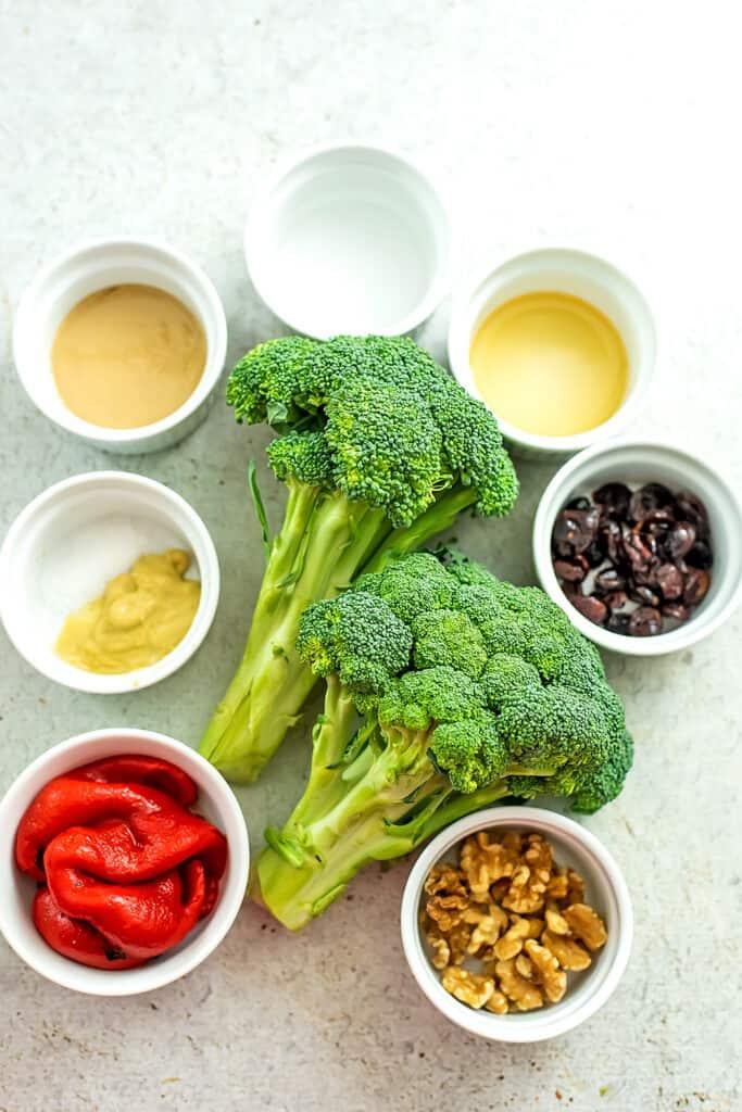 Ingredients to make riced broccoli salad.