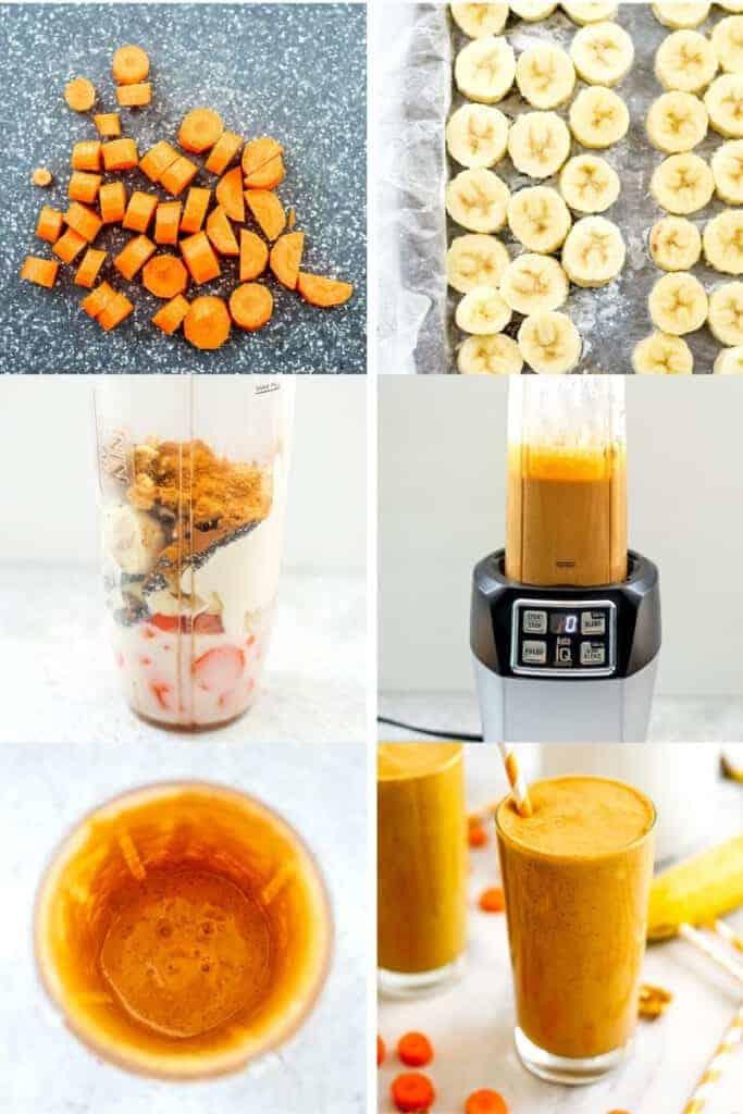 Steps to make a carrot banana smoothie.