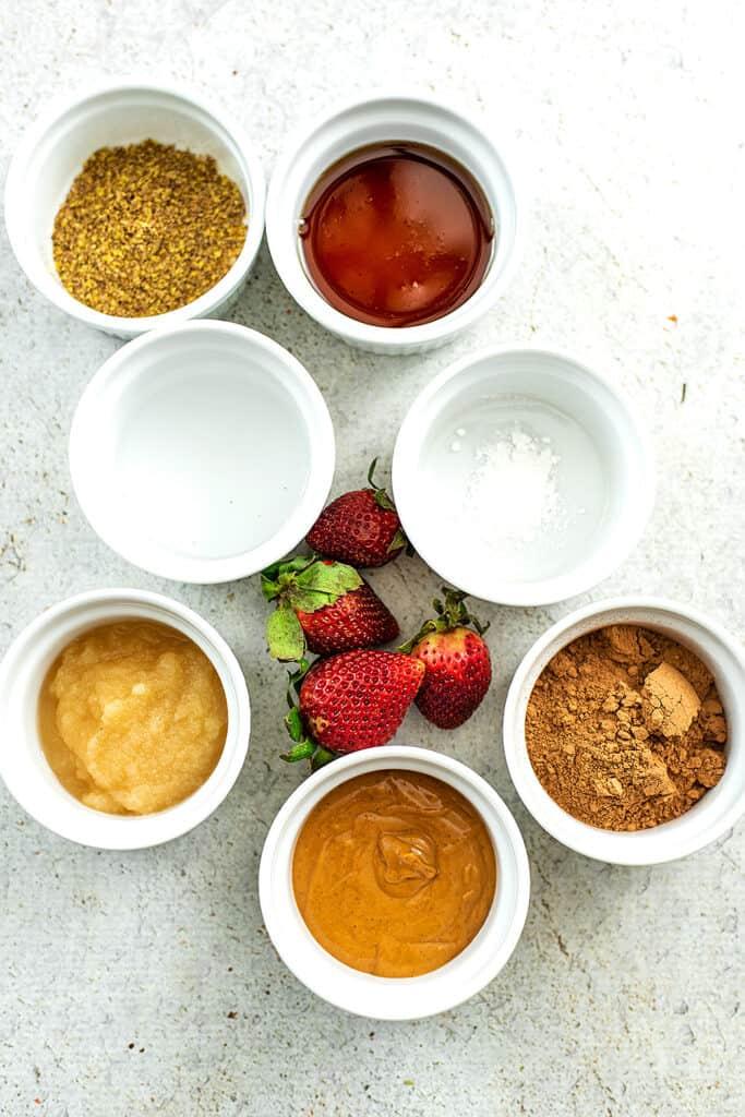 Ingredients for vegan mug brownies.