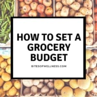 Vegetables in background of text for setting a grocery budget.