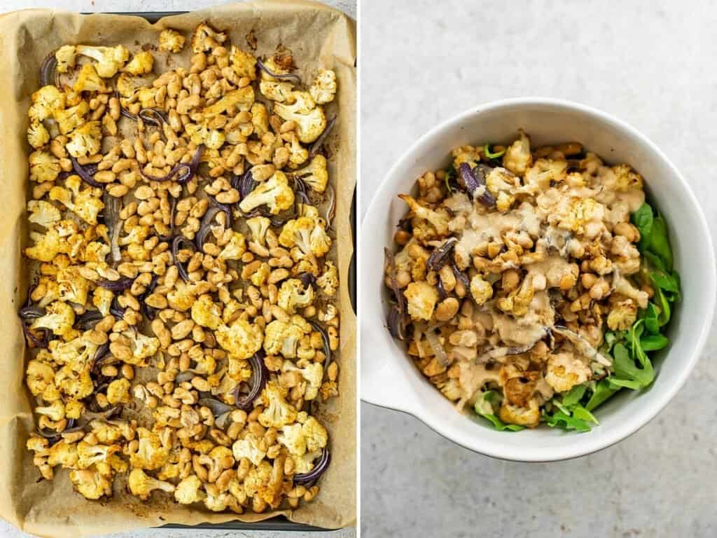 Finished roasted cauliflower and beans over salad greens.