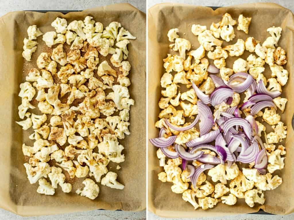 Steps on how to roast cauliflower and onions.