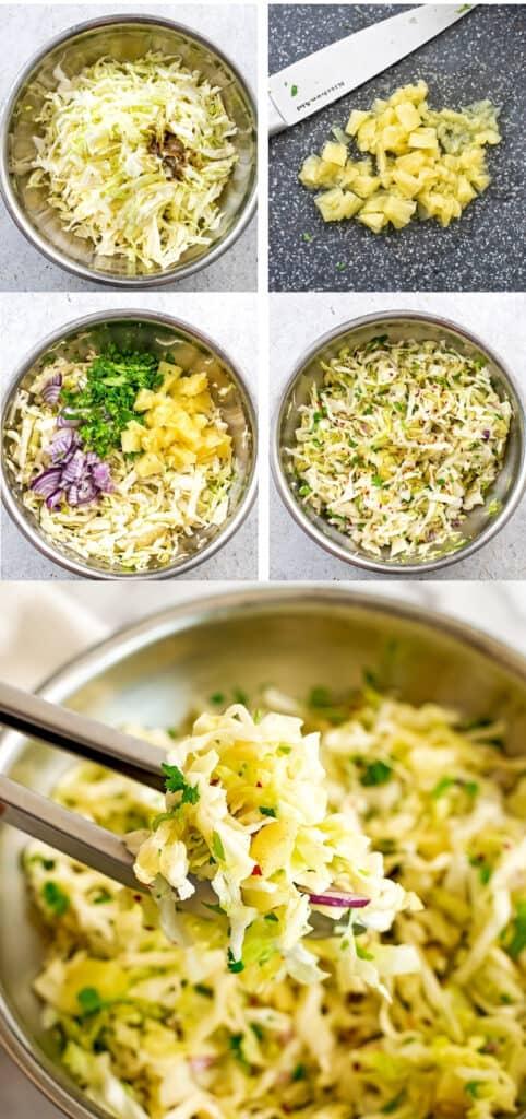 Steps to make pineapple coleslaw (no mayo).