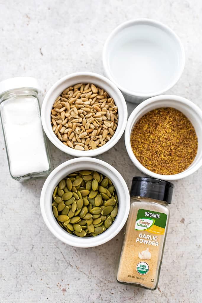 Ingredients to make seed crackers.