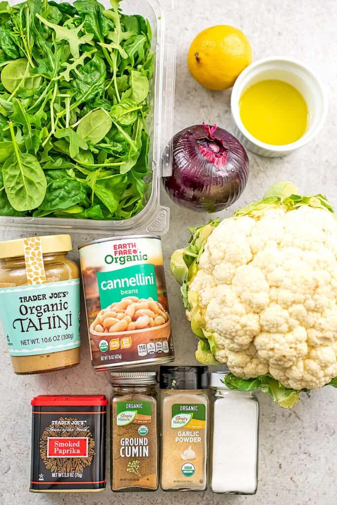 Ingredients to make Mediterranean Roasted Cauliflower Salad.