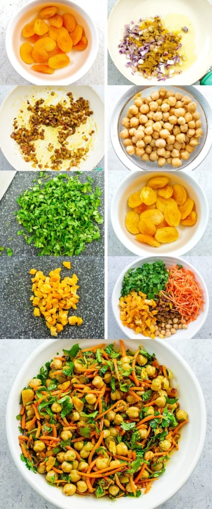 Directions on how to make apricot chickpea curry.