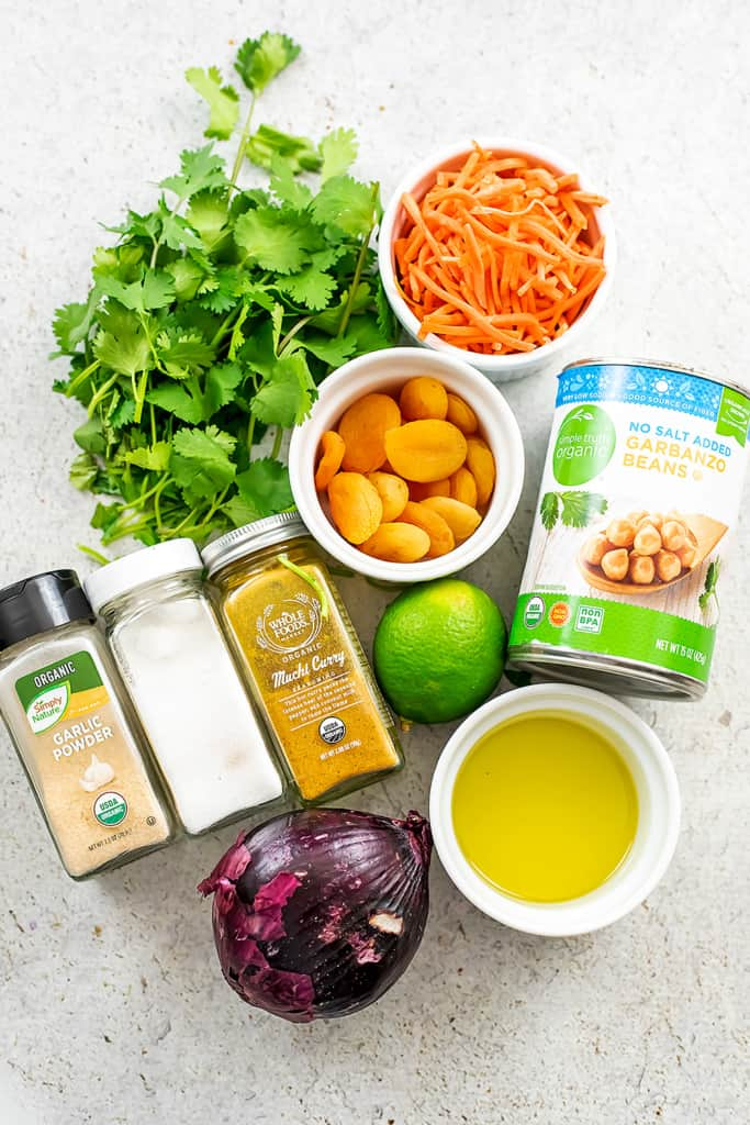 Ingredients to make apricot chickpea curry.