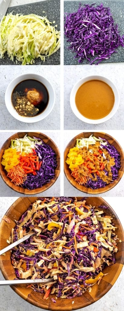 How to make asian cabbage slaw with peanut sesame dressing.