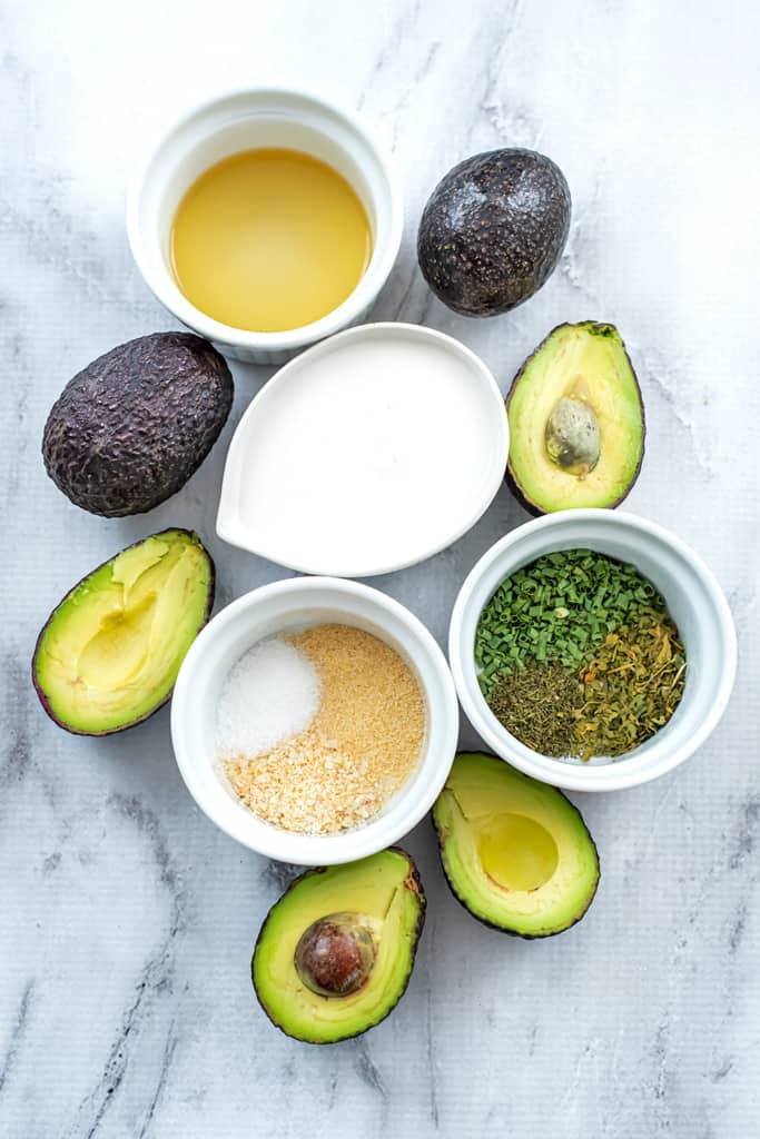 Ingredients to make vegan avocado ranch dressing.