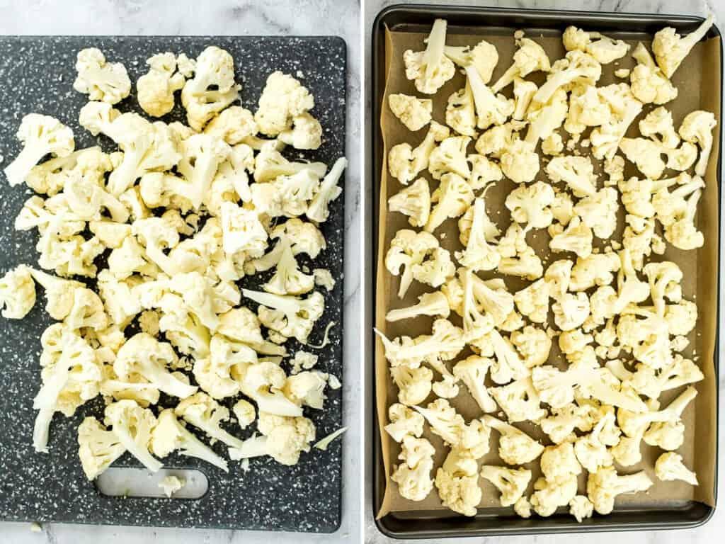 Cutting board of cauliflower and baking sheet with cut cauliflower.