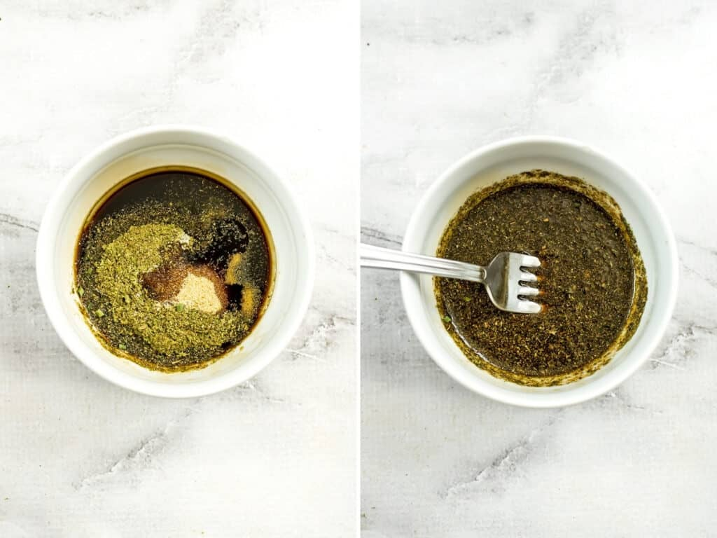 Before and after of the balsamic vinegar and spices being mixed.