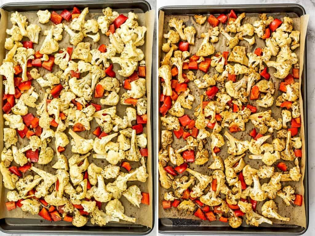Balsamic roasted cauliflower and red pepper before and after baking.