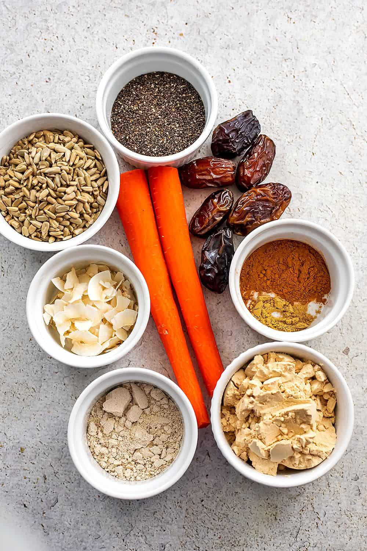 Ingredients to make carrot cake protein balls..