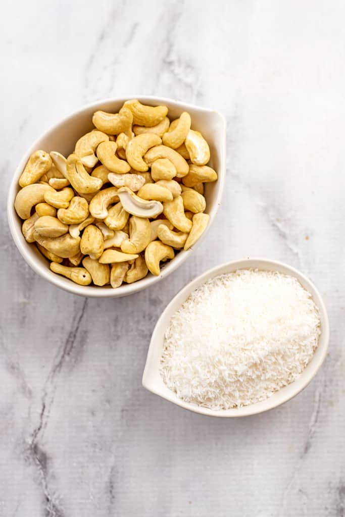 Ingredients to make cashew coconut butter.