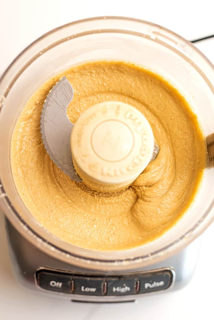 Cashew coconut butter in a food processor.