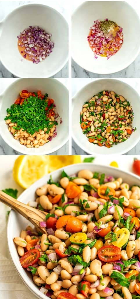 Steps on how to make greek white bean salad.