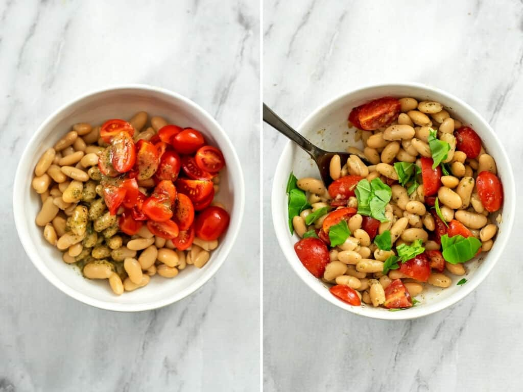 2 bowls with white bean salad, one before stirring and the other after adding basil.
