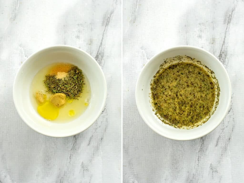 Before and after combining the italian dressing ingredients.