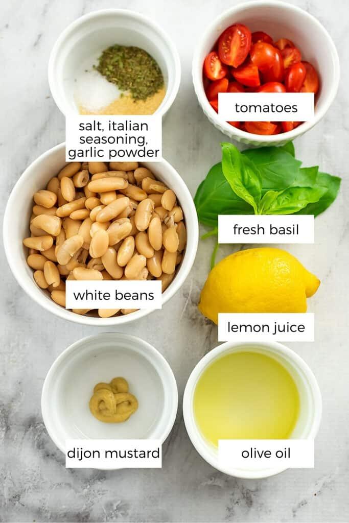 Ingredients to make italian white bean salad.