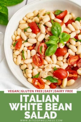Bowl filled with italian white bean salad.