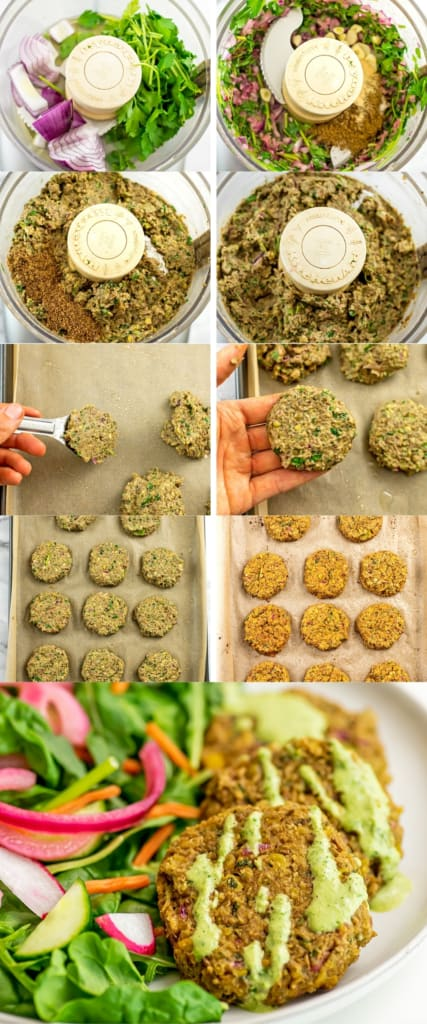 Steps on how to make lentil falafel.