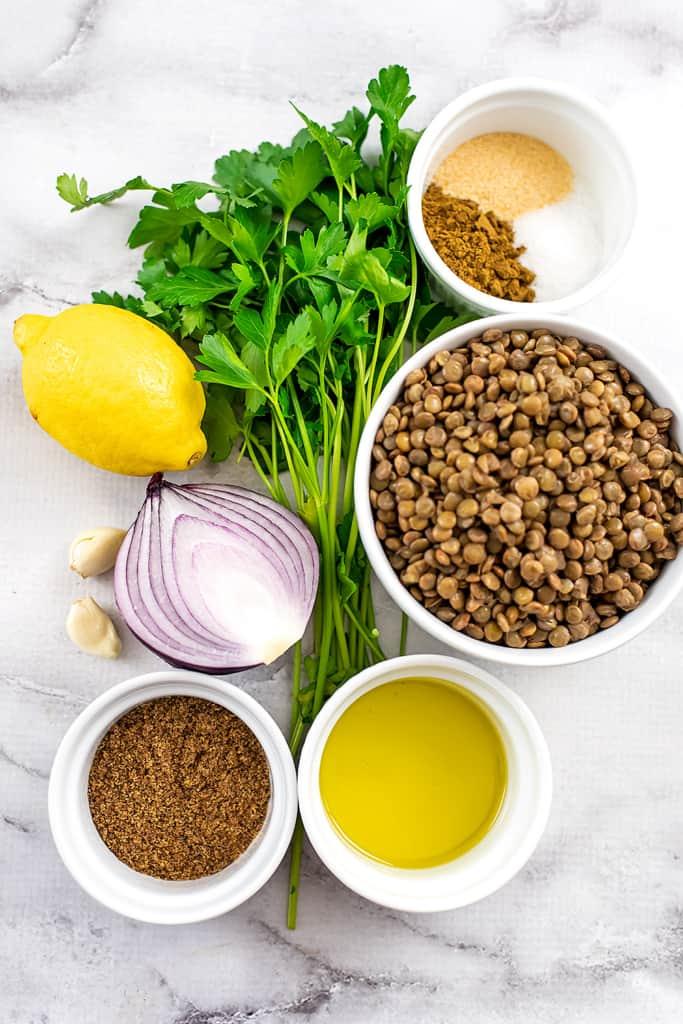 Ingredients to make lentil falafel.