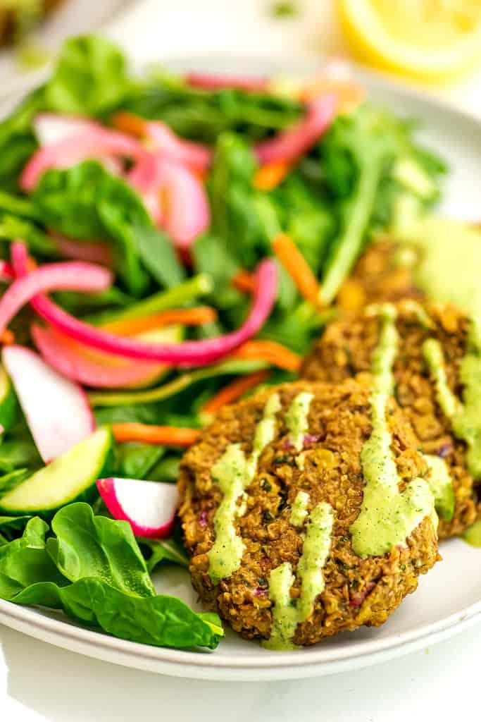 Baked lentil falafel with cilantro lime tahini.