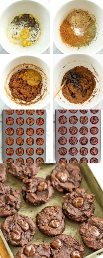 Steps on how to make protein brownie bites.