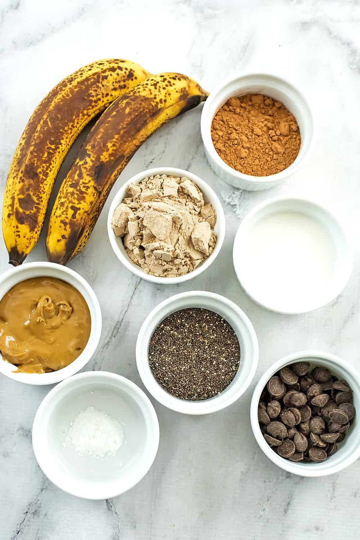 Ingredients to make protein brownie bites.