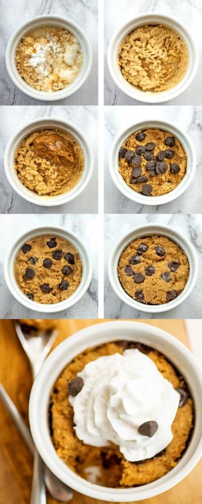 Steps on how to make vegan protein mug cake.