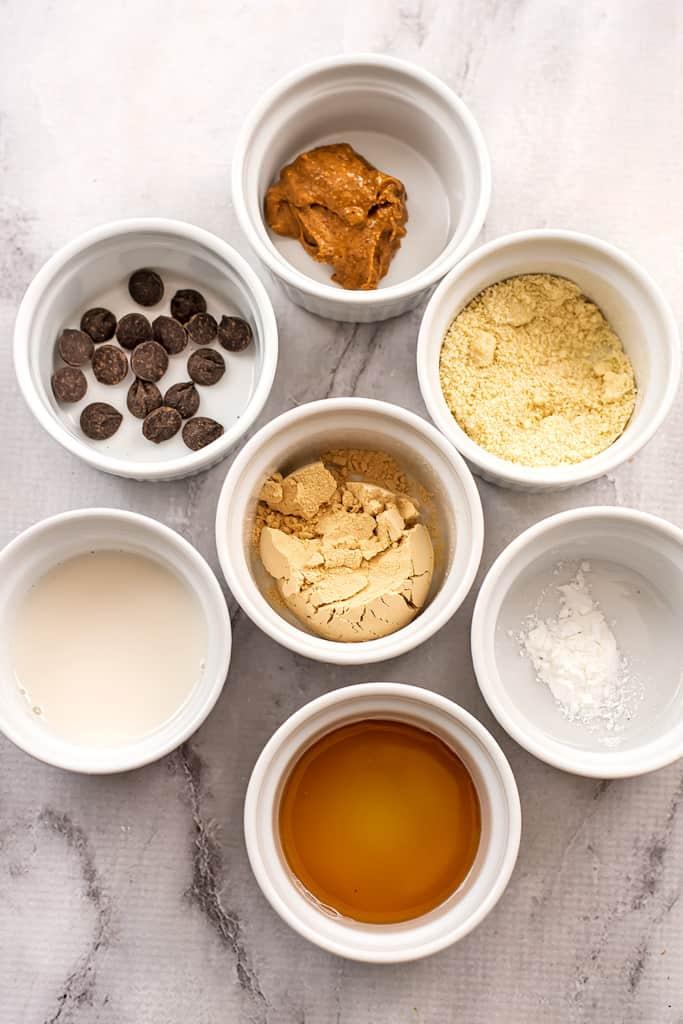 Ingredients to make vegan protein mug cake.