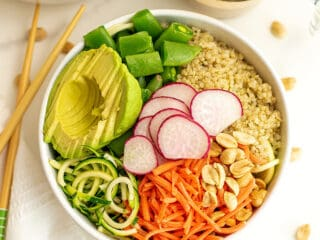 Asian buddha zoodle bowl in a white bowl.