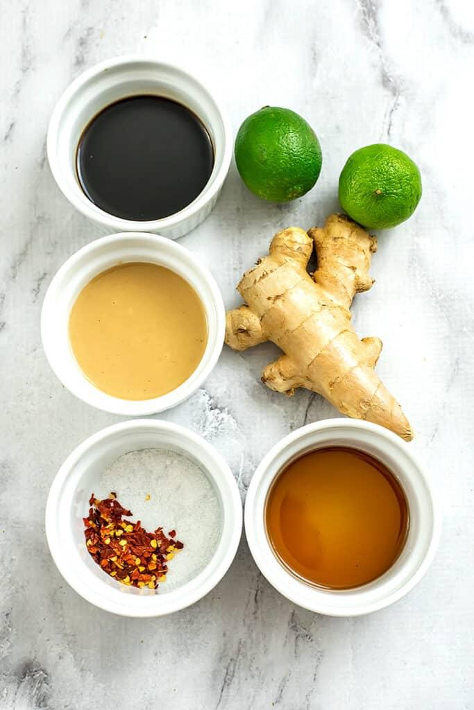 Ingredients for Asian tahini dressing.