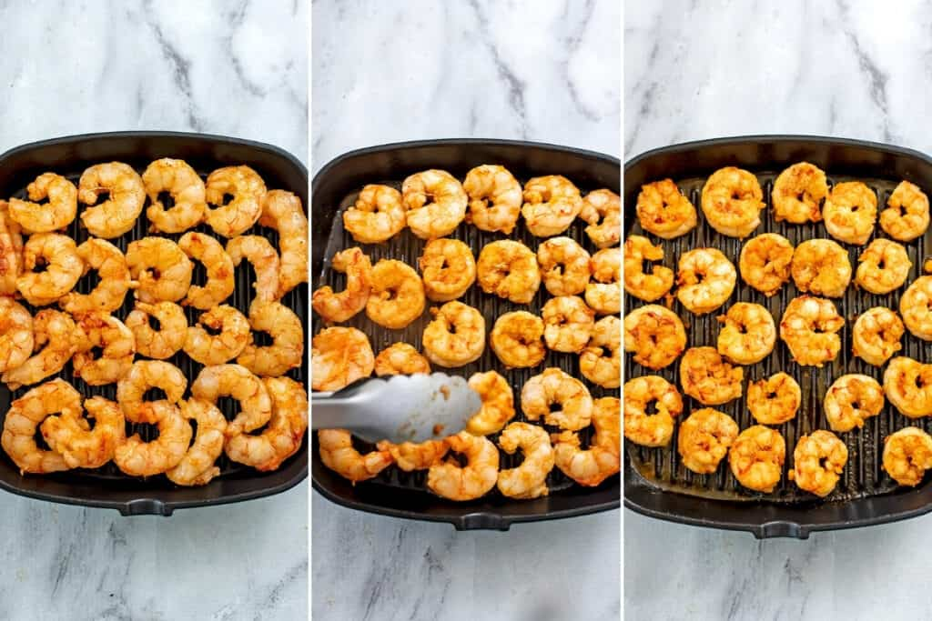 Before and after cooking shrimp on grill pan.