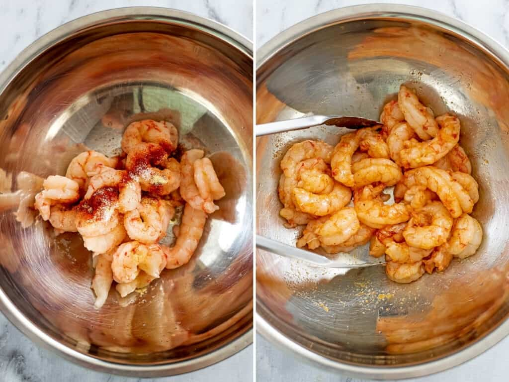 Raw shrimp with seasoning before and after stirring.
