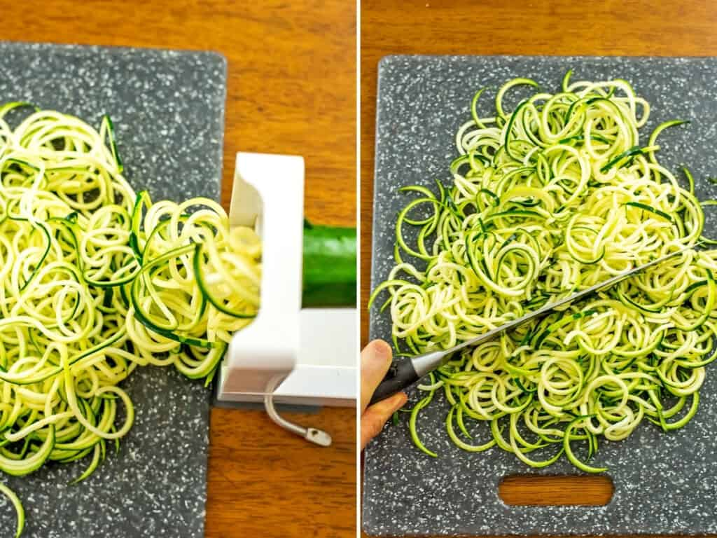 Steps to make zucchini noodles.