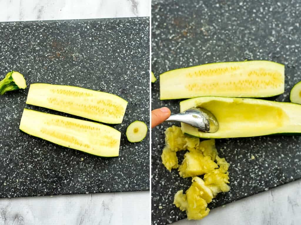 How to cut and deseed zucchini for stuffing.