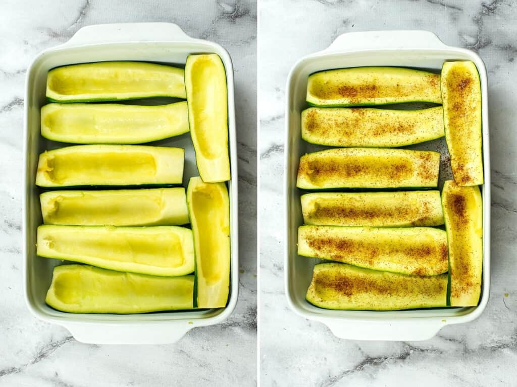 Uncooked zucchini boats before baking.