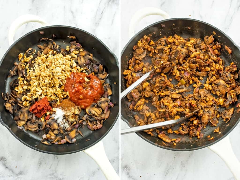 Mexican stuffed zucchini filling in a skillet before and after mixing.