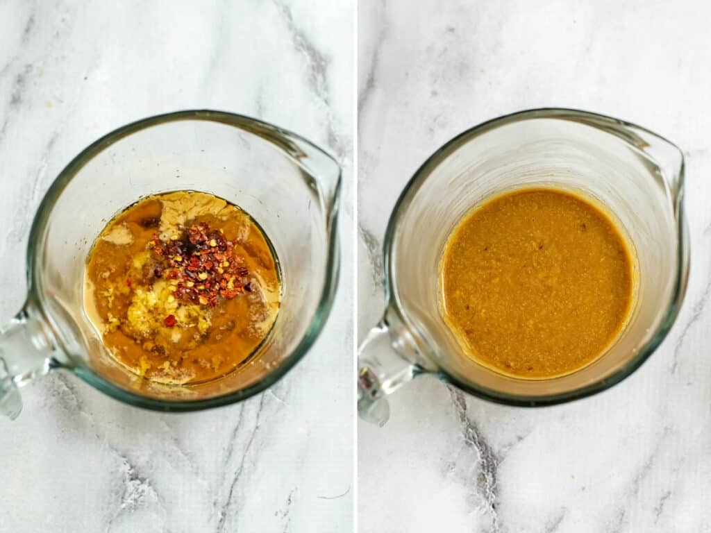 Before and after stirring tahini asian dressing in glass measuring cup.