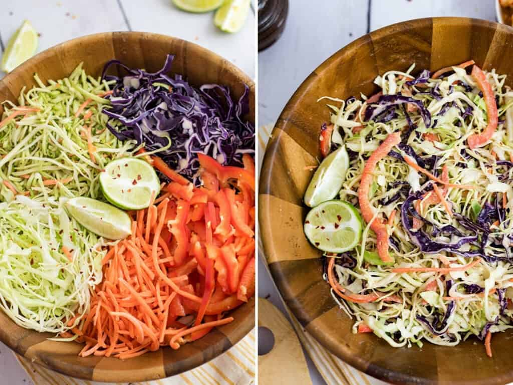 Whole30 Asian Slaw before and after stirring.