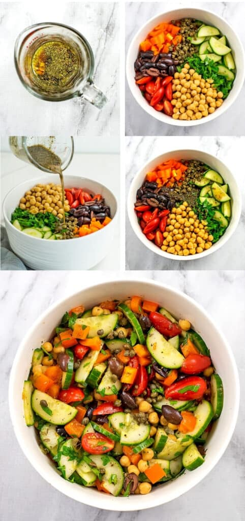 Steps on how to make a Mediterranean Chopped Salad.
