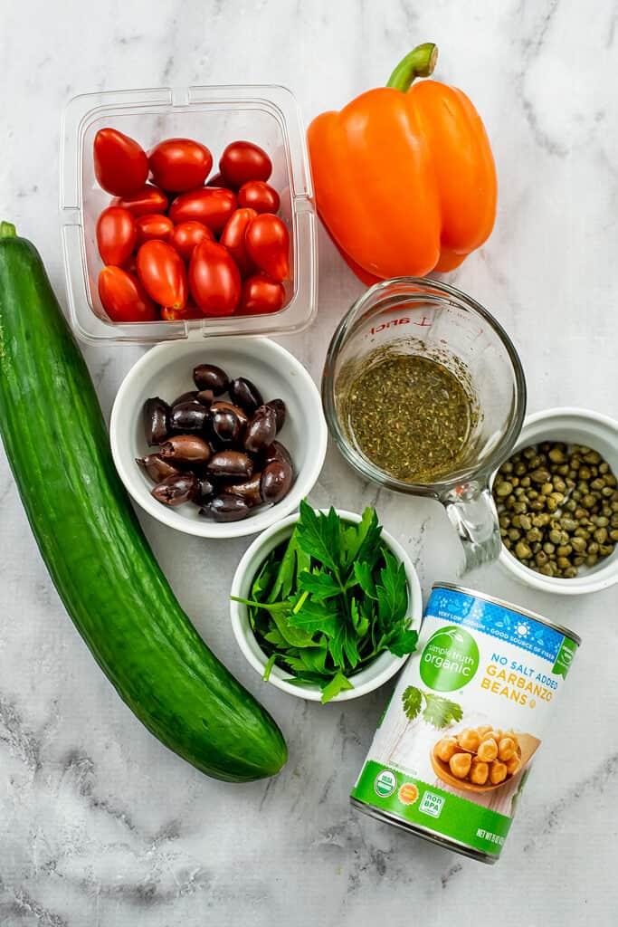 Ingredients for Mediterranean Chopped Salad.