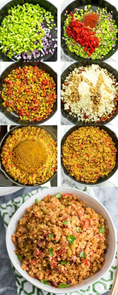 Steps to make cauliflower dirty rice.