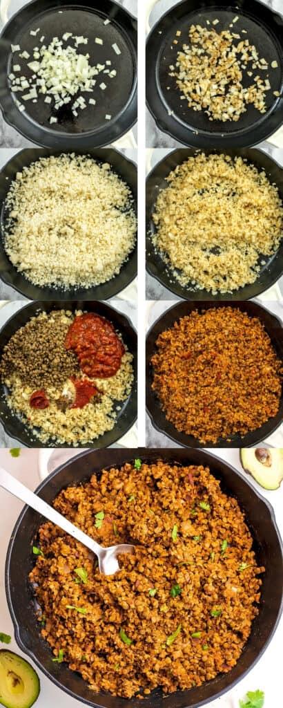 Steps on how to make cauliflower lentil taco meat.