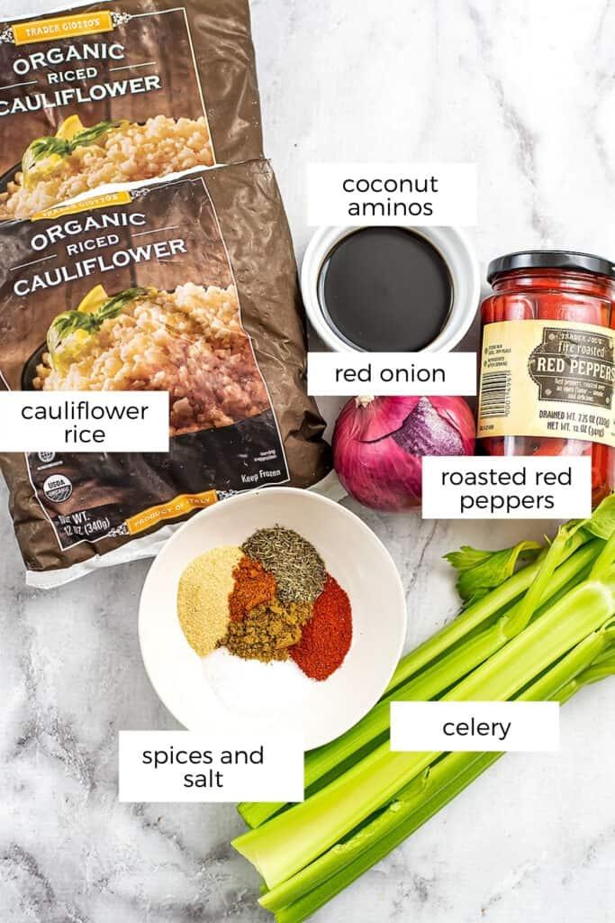 Ingredients to make cauliflower dirty rice.